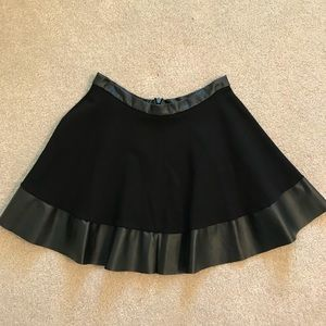 Topshop Leather Trimmed Circle /Skater Skirt
